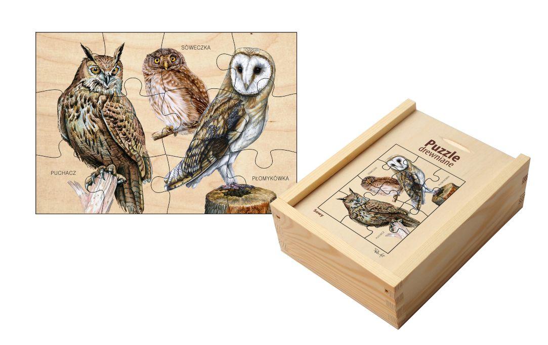 Puzzle drewniane - Sowy