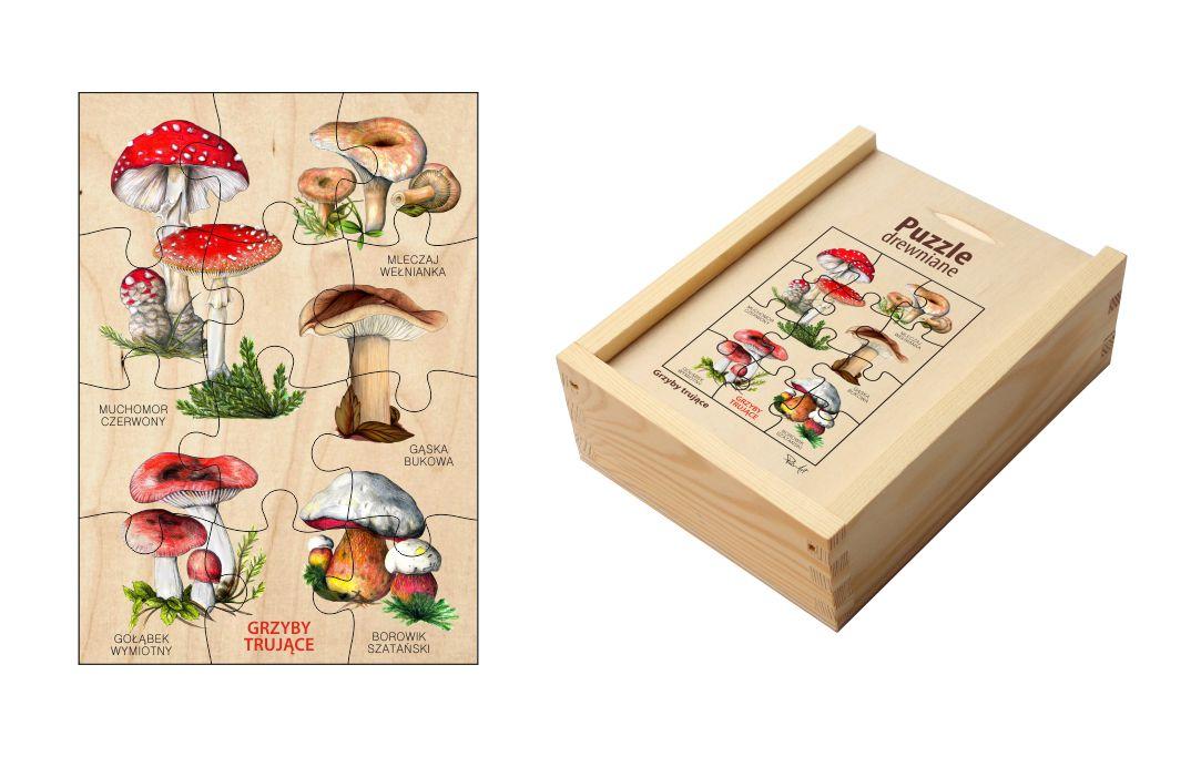 Puzzle drewniane - Grzyby trujące