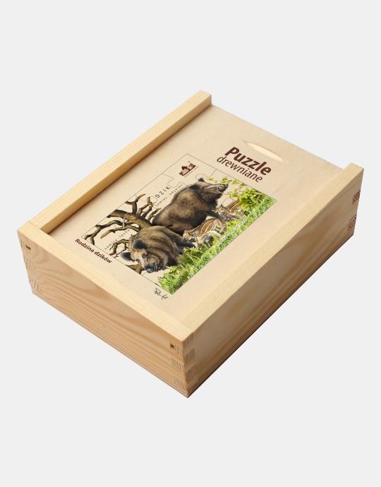 Puzzle drewniane - Rodzina dzikow