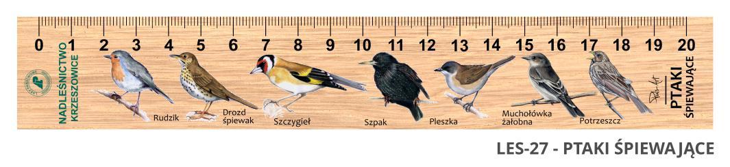LES-27 - Ptaki spiewajace (linijka drewniana)