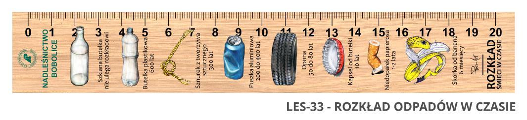 LES-33 - Rozklad smieci w czasie (linijka drewniana)